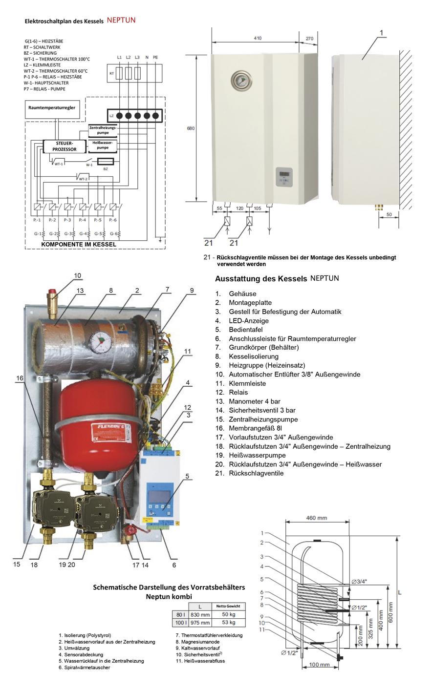 LUXHEIZUNG Elektro Heizkessel Heiztherme 4kW ASD Heizung und Wasser ...