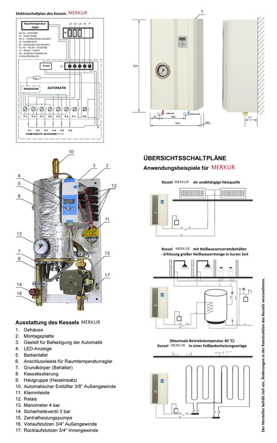 luxheizung elektrische heizanlage elektro heizkessel heiztherme 6kw merkur ebay. Black Bedroom Furniture Sets. Home Design Ideas