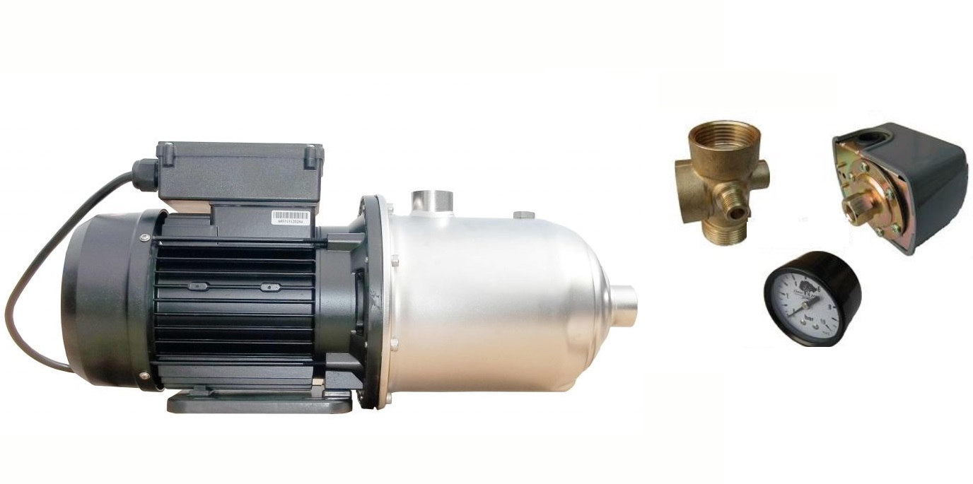 wasserpumpe 1500w 110l/min druckschalter manometer inox jetpumpe